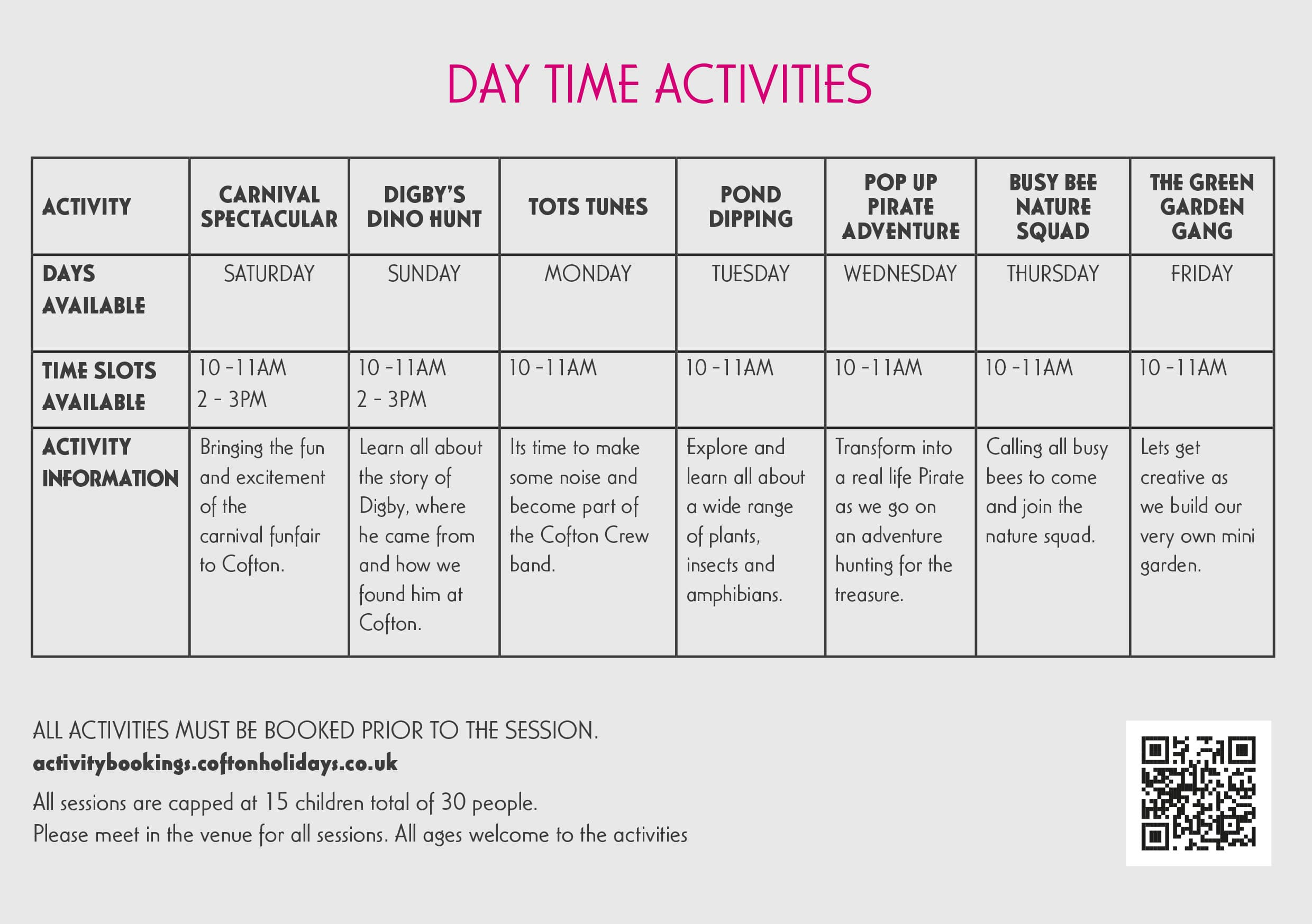 Kids Club Activities Timetable