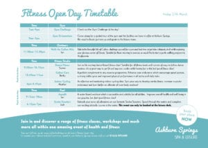 Fitness Open Day Timetable - Friday