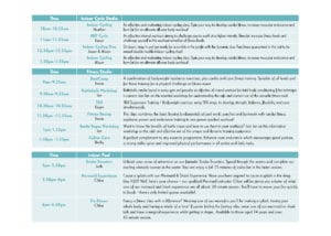 Fitness Open Day Timetable - Saturday2