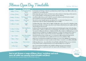 Fitness Open Day Timetable - Saturday1