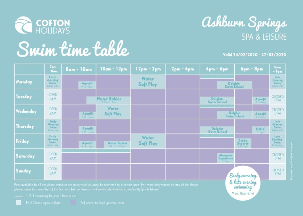 Cofton's Swim Timetable
