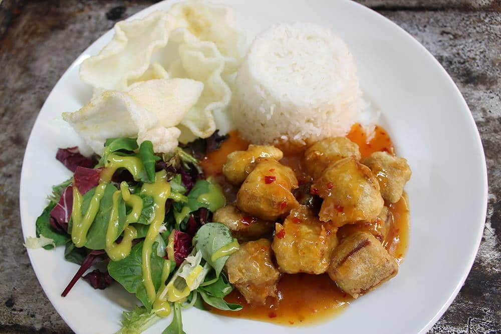 dining at cofton, sweet and sour tempura pork, amelia's pantry, local devon food