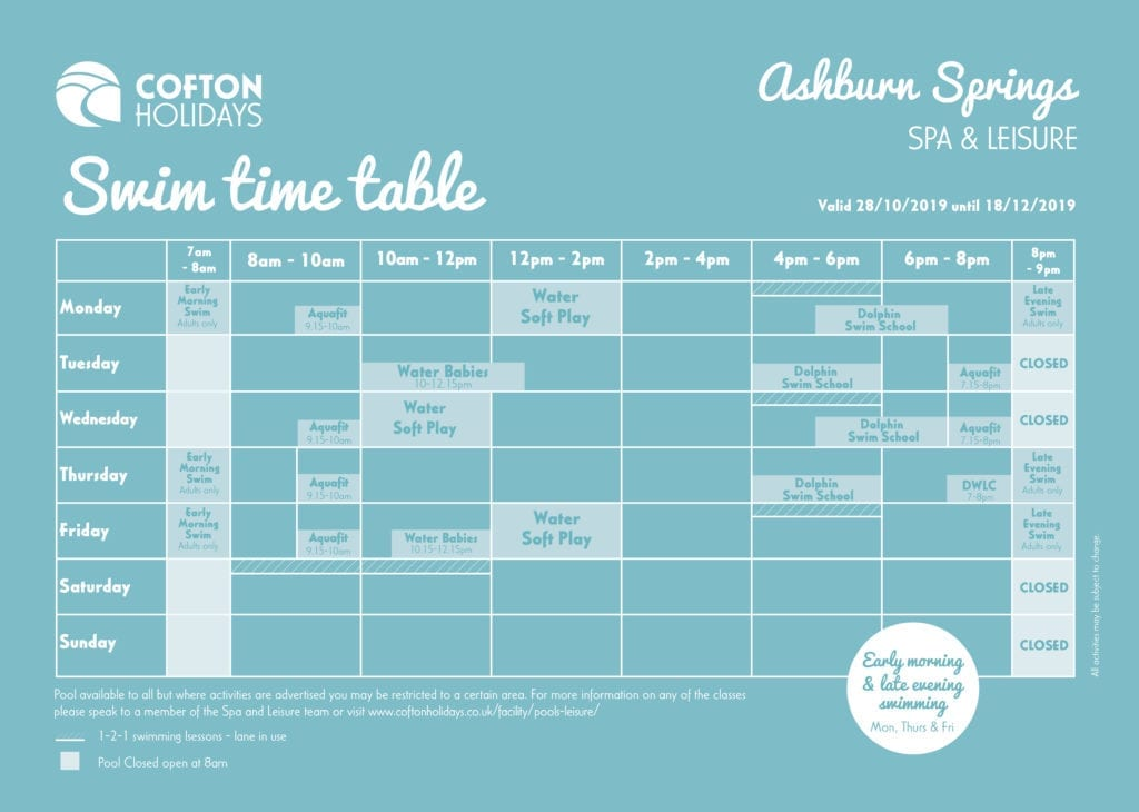 Swim Timetable - 28/10 -18/12