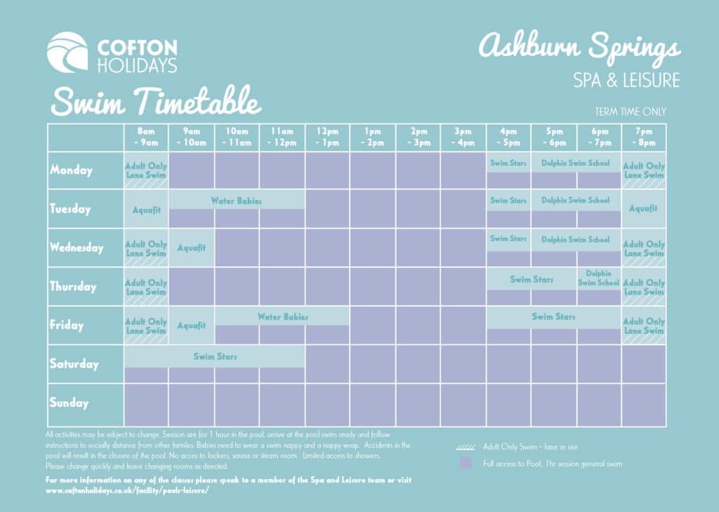 Indoor Pool Timetable